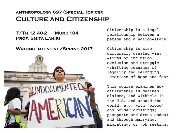 ANTH 697 (01) - SpTop:Culture & Citizenship   UNH Course Search